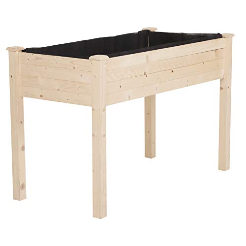 Outsunny Garden Wood Raised Elevated Bed 48x22x30in Vegetable Planter Outdoor ()
