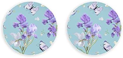 Iris de flor púrpura de arte romántico de primavera, 2 piezas, abridor de botellas montado, imanes redondos para nevera