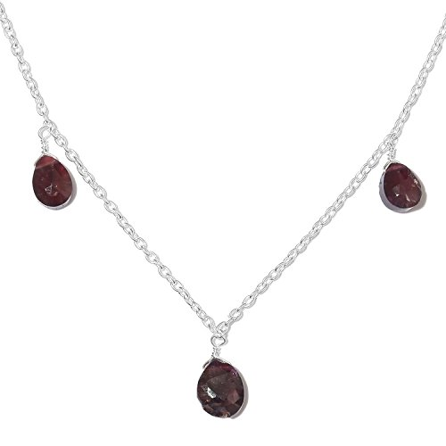 Artisan Crafted Garnet Sterling Silver Drop Collar Necklace for Women Size (Artisan Crafted Necklace)