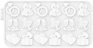 Siliconezone Chocochips Collection 8.9 Non-Stick Silicone Wedding Chocolate Wafer Mold White SZ17OM-12191AA