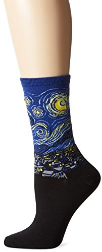 Hot Sox Women's Artist Series Crew Socks | Starry Night, Royal, Shoe Size: 4-10