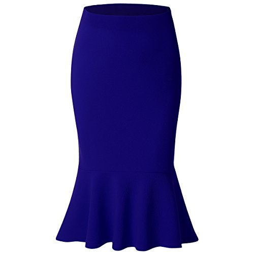 Women Mermaid Skirt High Waist Fishtail Hem Solid Bodycon Pencil Midi Skirts, Royal Blue, 3X
