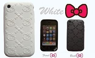 I-Phone 3G-3GS light weight Hello Kitty Stamped Silicone Case / Skin White - Iphone 3 Gs Skin Case