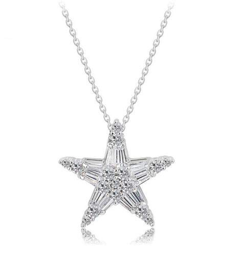 PR Jewelry Rhodium Silver Cubic Zirconia CZ Star Pendant Necklace ()