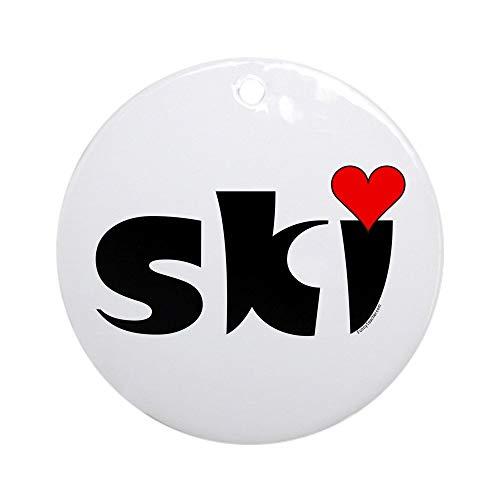 (CafePress Ski Small Heart Ornament (Round) Round Holiday Christmas Ornament)