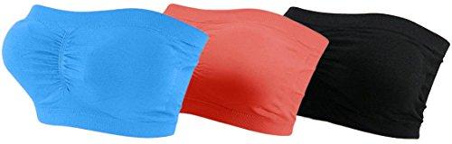 3x Damen Bandeau Bra trägerlos Unterhemd TOP Sport Bh Push Up BUNT bnu tuerkis/coral/schwarz