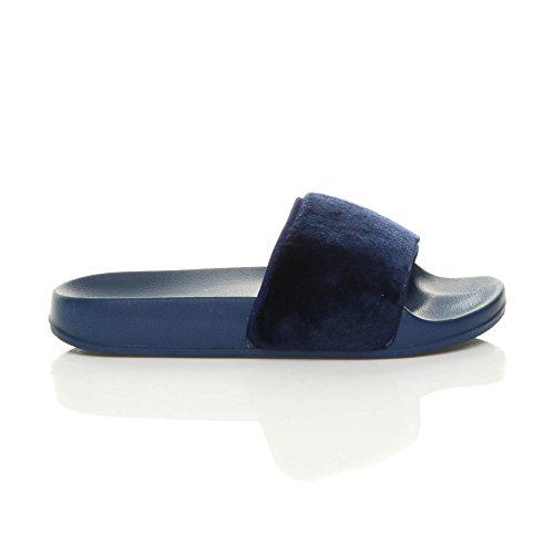 Blue Comfy Size Sandals Ladies Navy Womens Faux Slipper Flat Ajvani Sliders Fur on Slip flip Flop wXZBqnxCO