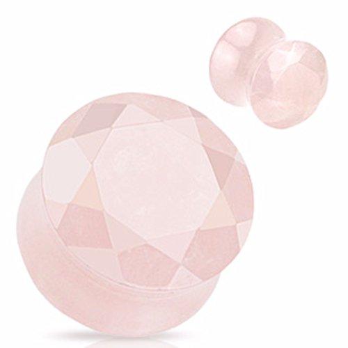 - Rose Quartz Semi Precious Stone Faceted Gem Cut Double Flared WildKlass Plug (Sold as a Pair)