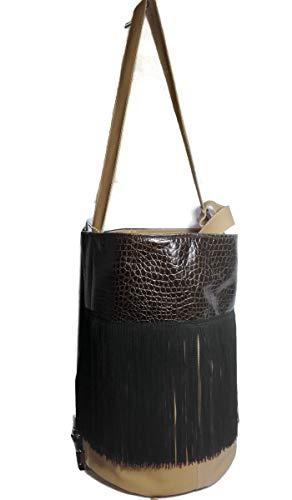 Bolso de moda con forma de piel,de cilindro con flecos: Amazon.es: Handmade