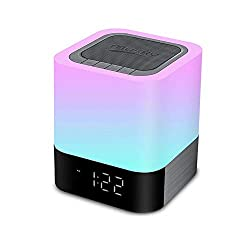 MJDUO Night Light Bluetooth Speaker,Portable Dimmable Touch Sensor Table Lamp with Alarm Clock,MP3 Music Player,USB,AUX Best Gift for Kids,Party,Bedrom,Outdoor