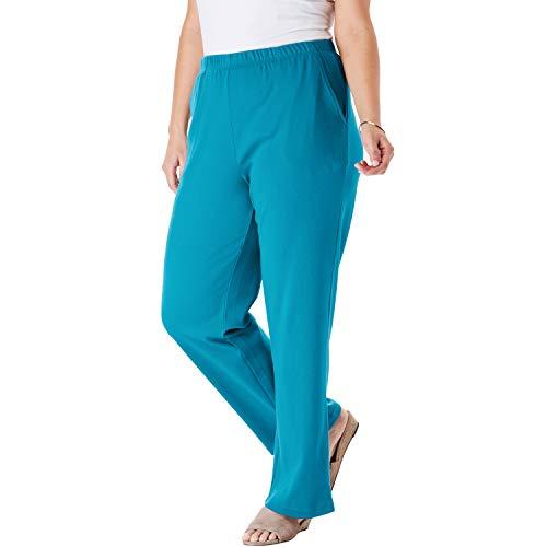 (Woman Within Women's Plus Size 7-Day Knit Wide Leg Pant - Laguna Blue, 2X)