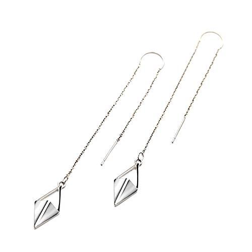 Threader Drop Earring Dangle Ear Long Bar Chandelier Tassel Chain Retro Triangle Crystal Ear Line Jewelry Rhombus ()