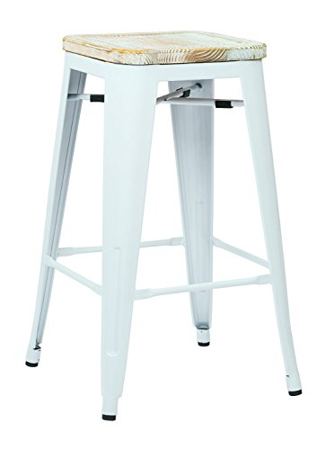 Office Star Bristow 26-Inch White Metal Frame Barstool with Vintage Wood Seat, Pine Iris, 2-Pack