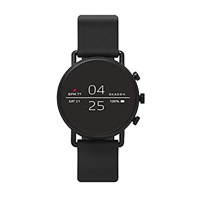 Skagen Connected Falster 2 Stainless Steel and Silicone Touchscreen Smartwatch, Color: Black (Model: SKT5100) from Skagen Connected Watches Child Code