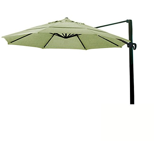 (Eclipse Collection 11' CantileverUmbrella CrankLift MultiPositon Tilt Bronze/Sunbrella/Spectrum Cilantro)