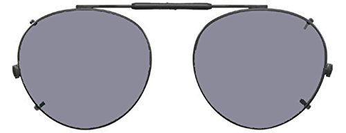 Visionaries Polarized Clip on Sunglasses - Round - Black Frame - 50 x 45 - Non Polarized Polarized Vs