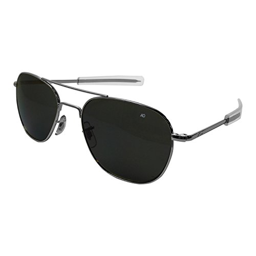 AO Eyewear American Optical - Original Pilot Aviator Sunglasses with Bayonet Temple and Silver Frame, True Color Grey Glass L