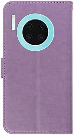 Docrax Huawei Mate30 Pro ケース 手帳型 スタンド機能 財布型 カードポケット マグネット ファーウェイMate30Pro 手帳型ケース レザーケース カバー - DOXCH010198 紫