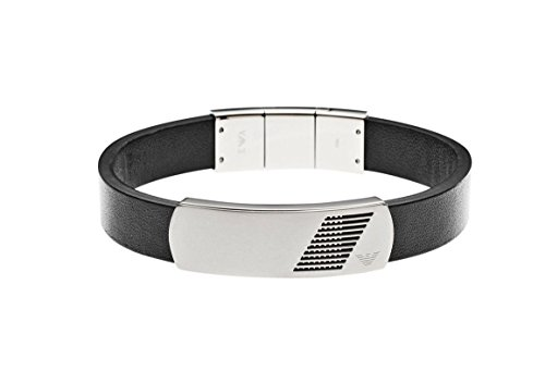 Emporio Armani Stainless Steel And Leather ID Bracelet EGS2029040 in Gift Box (Armani Bracelet)