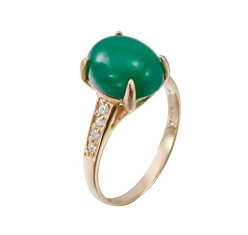 Daesar Sterling Silver Rings Wedding Bands for Women Four Claws Egg Green Chalcedony Rose Gold Size 6