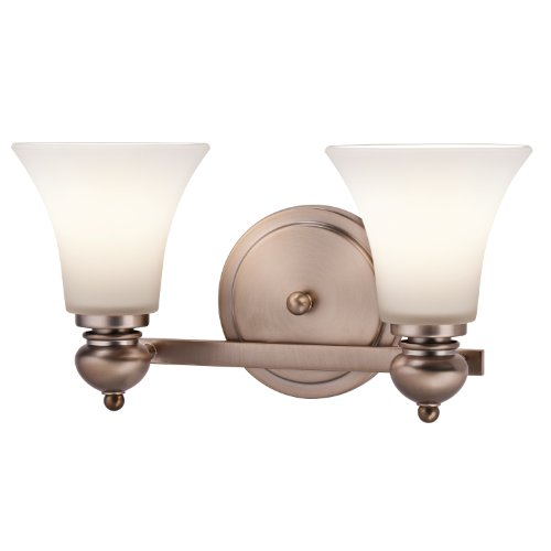 45047CLZ Sheila 2-Light Vanity Fixture, Classic Bronze Finish with Sat-Inch Opal Etched White (Kichler Bronze Mirror)
