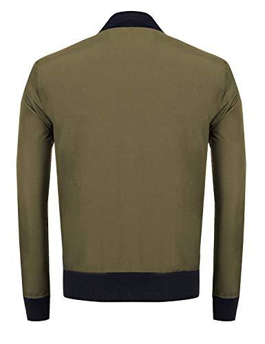 Patchwork Del Sportivo Uomo Armee Cappotto grün Sottile Bomber Volo Abbigliamento Giacca Collare Lunghe Fit Inverno Autunno Leggero Maniche Basamento Pilota vYUXx