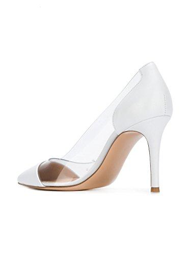 Blanc Chaussure Sandales Stiletto Femme Taille Talon Soirée Transparent Enfiler Aiguille À Escarpins Edefs 7FwH7