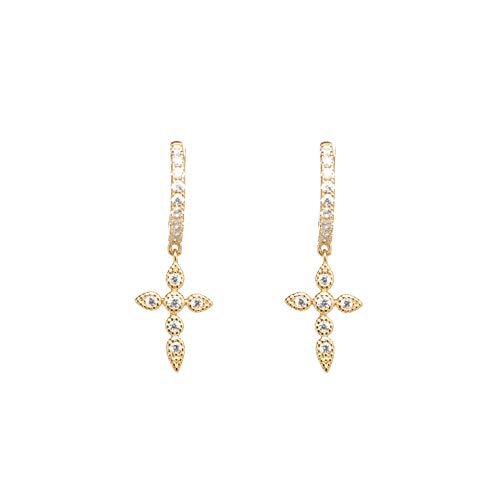 (Cross Earrings - Dangle Earrings - Drop Earrings - CZ Earrings - 18K Gold Cross Earrings for Women - Cross Dangle Earrings)