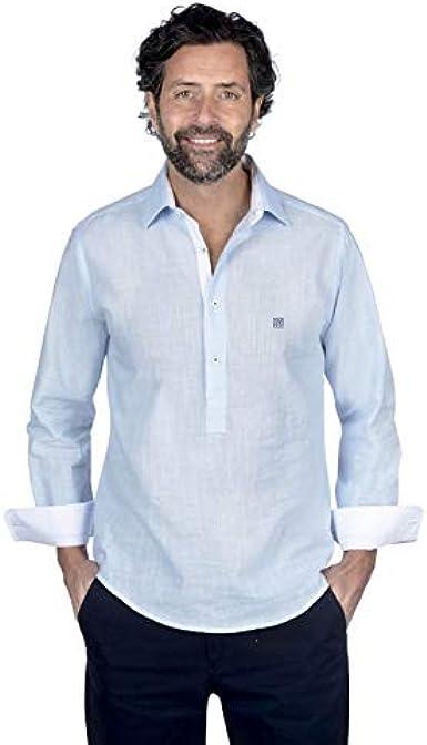 Camisa Tipo polera Manga Larga de Color Liso Azul: Amazon.es: Ropa y accesorios