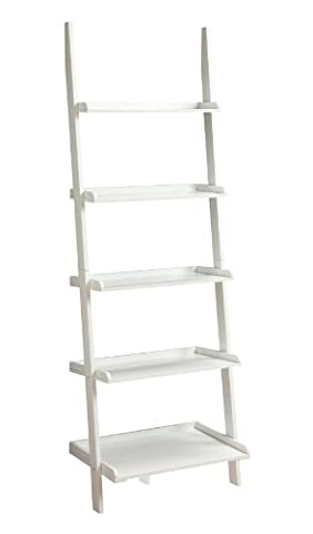 Convenience Concepts French Country Bookshelf Ladder, White - French Country Living Room Furniture