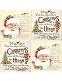 Christmas Cocktail Napkins Vintage Classic Santa Assorted Variety Pack Beverage paper napkins assorted 40 count Set