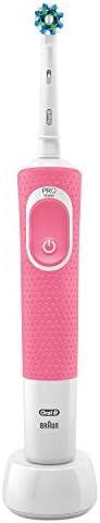 Oral-B Vitality 100 Cross Action Pink Brosse à Dents Électrique Rechargeable par Braun, 1Manche de Brosse à Dents, 1Brossette
