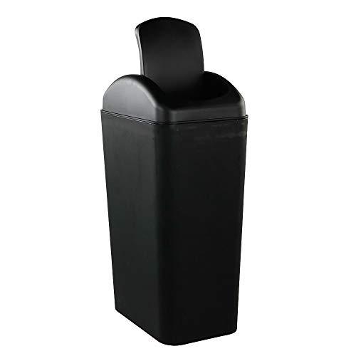 Jekiyo Plastic Trash Cans with Swing Lid, 10L Capacity, Black Trash Bin