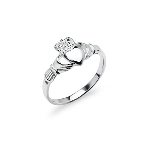 Nine2Five Claddagh Crown Love Heart Sterling Silver Band Ring, Irish Friendship Promise Ring Sizes 5 to 14