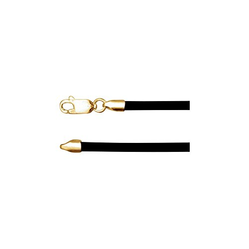 14K Yellow Gold 3mm Black Rubber 18
