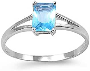 Sterling Silver Princess Cut Light Blue CZ Ring