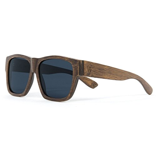 Woodzee Brown Wood Bamboo Sunglasses for Men with Polarized Lenses that Floats in - Wood Sunglases