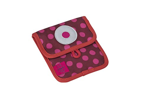 Lässig Mini Neck Pouch Brustbeutel Brusttasche Kleingeldtasche, Kordel mit Kindersicherung, Namensschild, Karabiner für Schlüssel, Dottie red