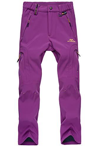 Micro Pants Performance Fleece - Fleece Lined Pants Women Cold Weather Pants Thick Fleece Pants Warm Pants Snow Pants Windproof Pants Winter Pants Skiing Pants for Women Purple
