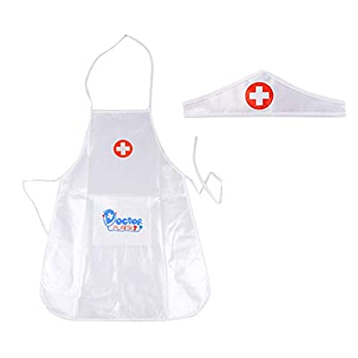 Laideyilan Kids Nurse Apron Children's Role Play Costume Doctor's Overall White Gown Nurse Uniform Toy : Baby