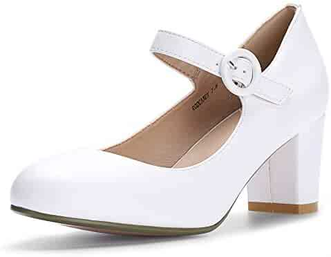 a12be59ca97 IDIFU Women s RO2 Candy Classic Low Chunky Block Heel Mary Jane Round Toe  Buckle Strap Office