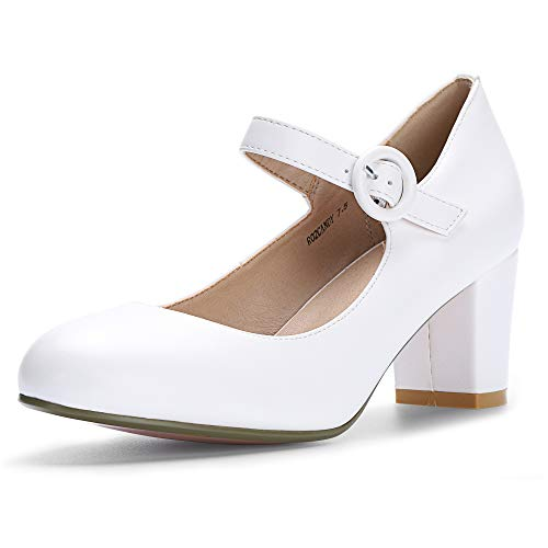 IDIFU Women's RO2 Candy Classic Low Chunky Block Heel Mary Jane Round Toe Buckle Strap Office Work Pumps Shoes (9.5 M US, White Pu)