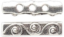 Shipwreck Beads Zinc Alloy 3 Hole Spacer Bar with Scroll, 4 by 18mm, Silver, 50-Pack