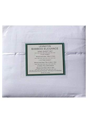 Lexington Bamboo Elegance 2200 Series 18 inch Deep Pocket 6 PC Bed Sheet Sets ECO Friendly - Hypoallergenic and Wrinkle Free (White, Full)