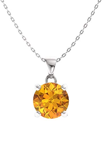 Diamondere Natural and Certified Citrine Solitaire Necklace in 14k White Gold | 0.42 Carat Pendant with ()