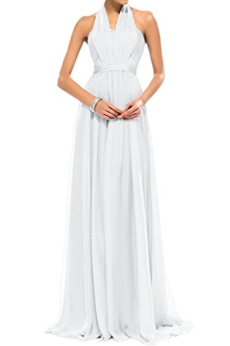 Sunvary Halter Floor Length Chiffon Summer Prom Bridesmaid Dresses Size 26W- White by Sunvary