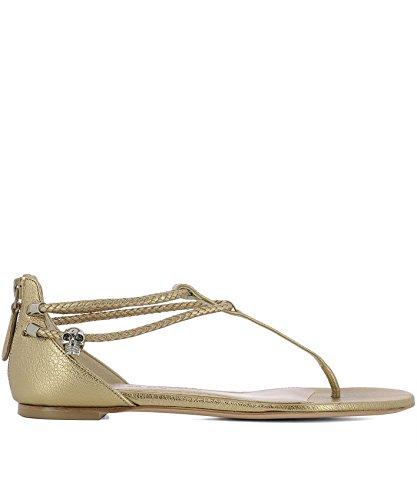 Alexander McQueen Women's 520108Whc658074 Gold Leather Sandals