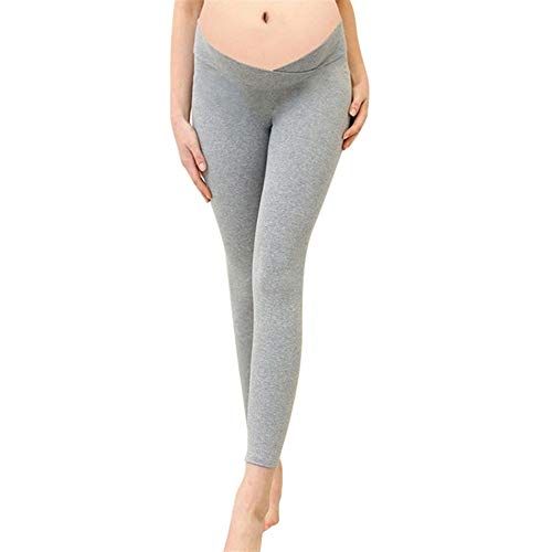 Women's Maternity Solid Thin Elastic Pants Cotton Full Ankle Length Warm Leggings Trousers