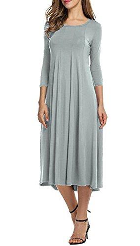 Doramode Stylish Womens 3 4 Sleeve Midi Crew Collar Swing Loose Casual Clearance Stretch Old Dress Grey Size 18