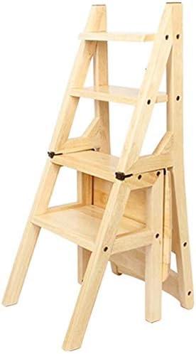 CZWYF Americana Silla plegable escalera de madera maciza 4 peldaños de la escalera de heces, multi-propósito flor Estante Estantería Silla de heces de alta escalera de doble propósito, 4 color opciona: Amazon.es: